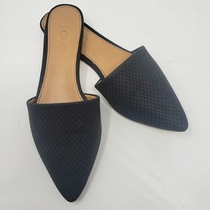 J Crew Flats Black Open Back Mules Sz 6 Pointed